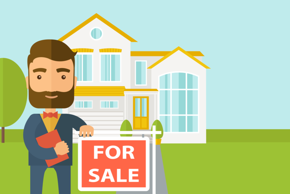 Graphic of agent outside home for sale